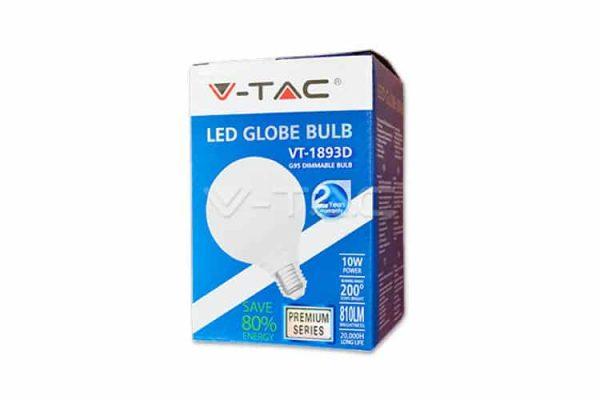 Comprar  Bombilla Led E27 G95 10W V-TAC 810LM 6000K