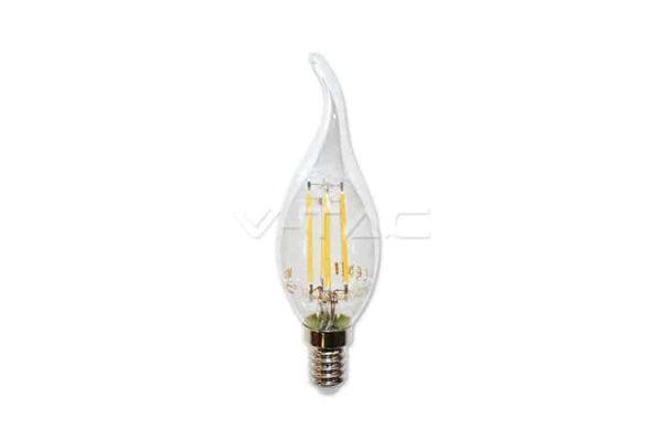 Comprar  Bombilla Led E14 Vela Llama de Filamento 4W V-TAC 320LM 3000K